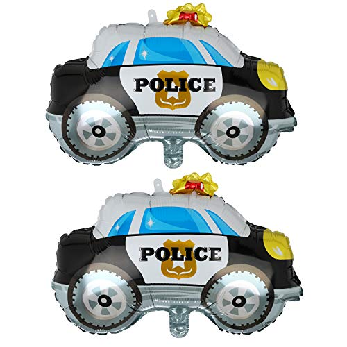 2 Pcs Police Car Shape Super Big Foil Balloon Birthday Party Decorations Supplies