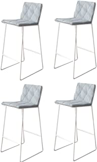 Modern Bar Stools Set of 4 Solid Metal Legs Barstools Grey High Stools with Backrests & Footrests Counter Barstool (Size :...