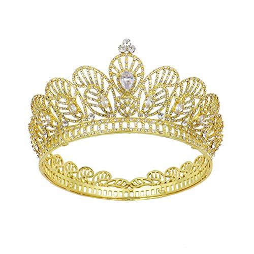 Corona redonda Diamantes de imitación Tiara Corona de estilo barroco Tiara Boda...