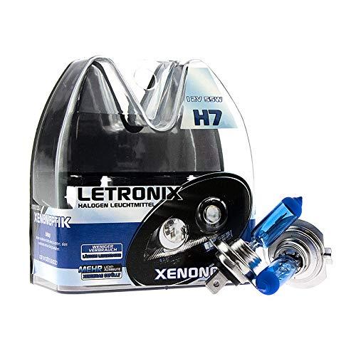 Letronix - Bombillas halógenas para coche, 12 V, 8500 K, color blanco frío, efecto xenón, para luz de cruce, luz antiniebla, luces largas, luz de curva, certificado E (aspecto led)