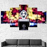 183Tdfc Fútbol Barcelona Moderno Cuadro En Lienzo 5 Piezas Sala Y Dormitorio Decoración del Hogar,Decoración De Pared Art 150X80Cm(con Marco)