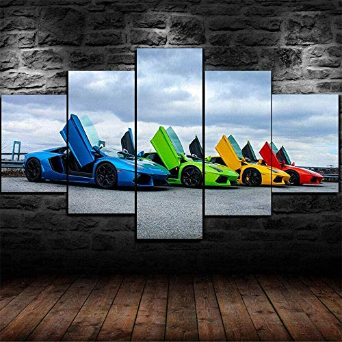 VYQDTNR Cuadro En Lienzo Artista De Pared Decoración Viva Sala De Estar Moderna Impresión En HD Póster Pinturas Lamborghini Aventador Colores Coche Sin Marco Cuadro de Lienzo - 5 Piezas