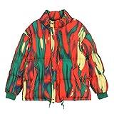 Hip Hop Thick Warm Parka Chaquetas Tie Dye Stripe Full Zip Jacket Coats Outwear Orange XL