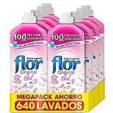 Flor Original - Suavizante concentrado para la ropa, aroma Floral -Pack de 8, hasta 640 dosis