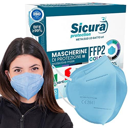 10x FFP2 Maske Farbe Hellblau CE Zertifiziert Filterklasse BFE ≥99% FFP2 Masken SANITIZIERTE Einzeln versiegelte ISO 13485 Medizinprodukte Atemschutzmaske CE Hergestellt verpackt in Italien