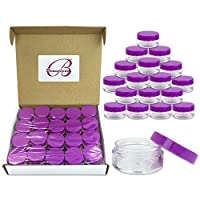 (Quantity: 40 Pieces) Beauticom 10G/10ML Clear Round Jars with Purple Lids for Beads, Gems, Glitter, Chrams, Small Arts and Crafts Items - BPA Free [並行輸入品]