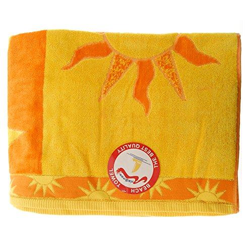 Jumbo Telo Mare 2 Posti Due Piazze Matrimoniale Cotone Spugna Egiziana 100% varicolori (Sole Arancio)