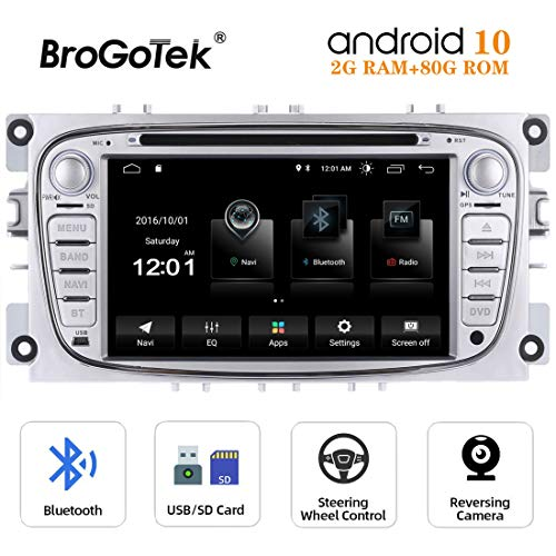 Autoradio Android 10.0 Auto GPS-radio voor Ford Mondeo Focus Kuga Galaxy 7 inch 2 Din Stereo met navigatie GPS-speler DVD Video Touchscreen Bluetooth WiFi USB HD 1024 x 600 80 GB ROM (zilver)