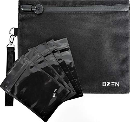 Smell proof bag with front waterproof zipper by BZEN odor proof bag with 5 Free plastic resealable bags