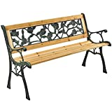 ArtLife 2-Sitzer Gartenbank Venezia aus lackiertem Holz & Gusseisen | naturbelassen | Rückenlehne + Armlehnen | Sitzbank Holzbank Gartenmöbel