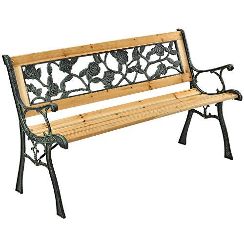 ArtLife 2-Sitzer Gartenbank Venezia aus lackiertem Holz & Gusseisen | Natur | Rückenlehne + Armlehnen | Sitzbank Holzbank Gartenmöbel