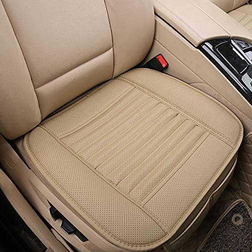 D-Lumina 2Pcs Breathable Leather Car Front Seat Cushion Cover Pad Mat Universal for Auto Interior Supplies Seat Bottom Protector, Beige (21.5 × 24.06 Inch)