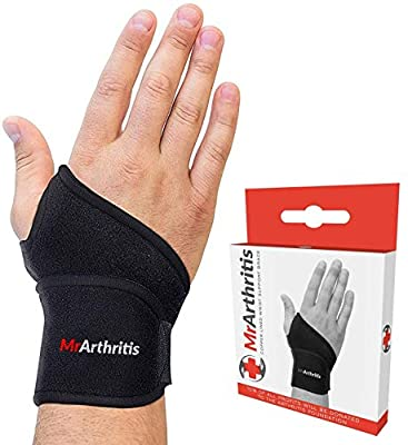 Mr Arthritis Premium Copper Lined Wrist Support/Wrist Strap/Wrist Brace/Hand Support [Single]& Doctor Written Handbook— Suitable for Both Right and Left Hands