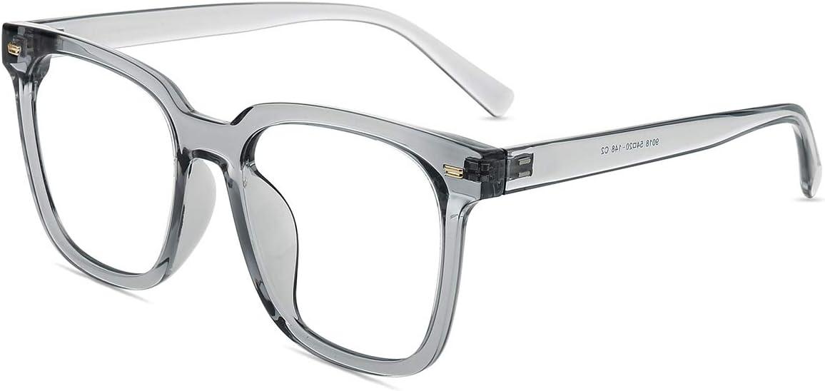Firmoo - Gafas de filtro de luz azul para mujer, tamaño grande, antirreflejos, antirreflejos, protección UV400, luz azul, para pantallas contra dolores de cabeza, montura de gafas grises