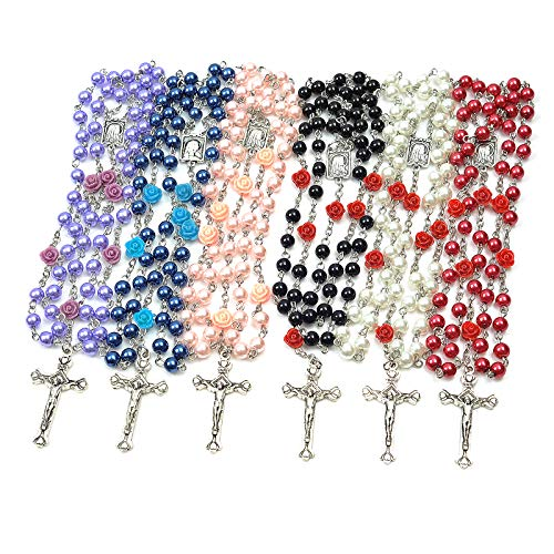 6 Pack Rosary Pearl Beads Catholic Necklace with Jesus Christ Crucifix Cross First Communion Gifts Confirmation Gifts for Girls Teens Women Men (White, Pink, Black, Red, Purple, Royal Blue)