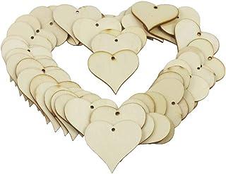 بطاقات هدايا خشبية على شكل قلب من KaLaiXing قطع زينة على شكل قلب خشبية سادة - 50 قطعة