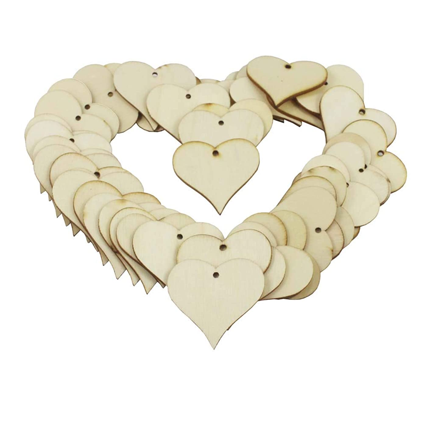 KaLaiXing Heart Shaped Wooden Gift Tags/Price Tags. Plain Wooden Heart Embellishments Crafts-50pcs