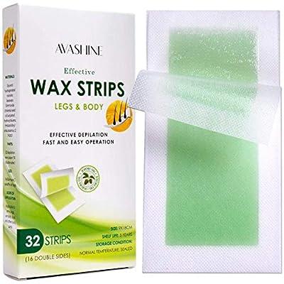 Avashine Wax Strips for Arms, Legs, Underarm Hair, Eyebrow, Bikini, and Brazilian Hair Removal Contains 32 Strips from Avashine