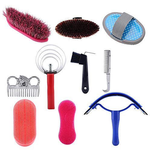 Broco Juego de cepillos para Caballos, 10Pcs Horse Grooming Care Kit Equestrian Brush Curry Comb Horse Cleaning Tool Set Set Horse Brush Set Professional Horse Cleaning Tool Kit