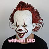 BCOGG Joker Pennywise Máscara Stephen King It Capítulo Dos 2 Horror Cosplay Máscaras de látex Casco Payaso Disfraces de Halloween para mujeres Adulto L sin LED