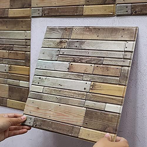 Eco Memos 10 piezas de papel pintado de ladrillo efecto 3D retro patrón de madera – autoadhesivo 3D azulejos pared adhesivo para cocina y baño, 30 cm x 30 cm papel pintado de madera