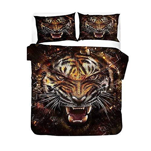 ZYLH Juego de cama de microfibra supersuave, diseño de tigre del bosque (100% algodón orgánico), 135 x 200 cm, cierre de cremallera, funda nórdica + funda de almohada de 80 x 80 cm (135 x 200 cm)