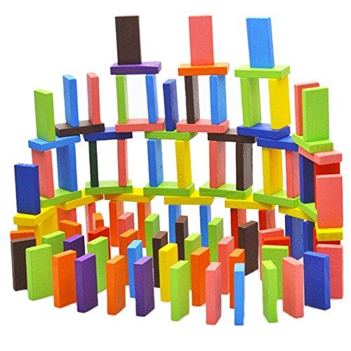 CHIC-CHIC Kit de Construction Jeu Educatif et Scientifique 120 Pièces Domino Bois Bloc de Couleur Mélangée