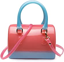 Girls Jelly Mini Candy Handbag Crossbody Shoulder Bags for Summer (Fuchsia Blue)