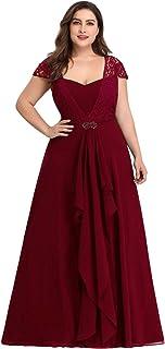 A-línea Vestido de Noche Encaje Escote Talla Grande Vestido de Fiesta para Mujer 07986