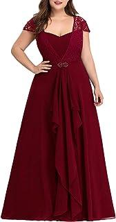 Ever-Pretty Abiti da Cerimonia Donna Taglie Forti Stile Impero Linea ad A Lungo Chiffon Elegante 07986
