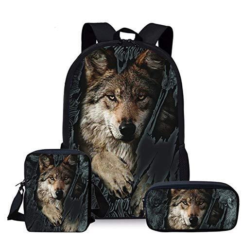 YUNSW 3D-Bilderter Schulrucksack, Süße Grundschultasche Für Mädchen Mit Katzen- Und Hundedruck, Schulrucksack Für Kinder Mit Bleistifttasche Und Lunch-Tasche