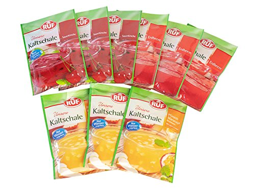RUF Kaltschale: 3x Erdbeere 84g, 3x Sauerkirsche 84g, 3x Kaltschale Pfirsich-Maracuja 90g