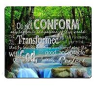 クリスチャンの心に強く訴える引用聖書の聖書のマウスパッド滑り止めが快適、この世界の方法にこれ以上適合しないが、あなたの心の更新によって変換される