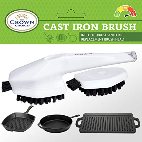 Best Cast Iron Cleaning Brush with Free Replacement Head - Heavy Duty Cleaning - Pan, Griddle, Griddle, Skillet