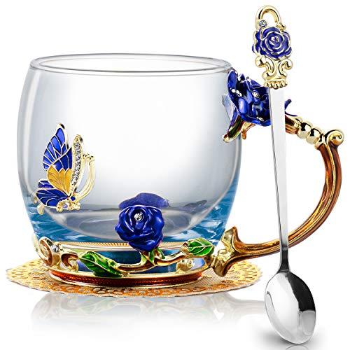 COCHIE Glasteetasse,Emaille Blue Rose Blüten Schmetterling Kristallglas Tasse Blumen Kaffeebecher,personalisierte Geschenke für Frauen Frau Mutter Freunde Geburtstag Mütter Valentinstag Hochzeit
