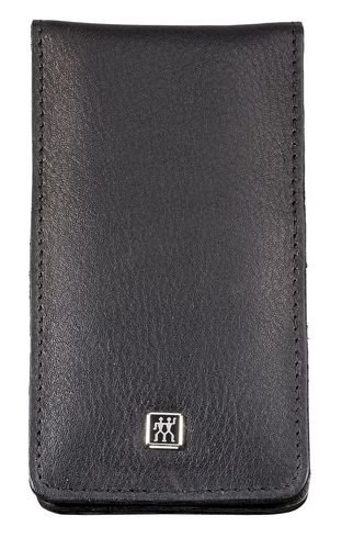 Zwilling 97438-004-0 Classic Inox Etui aus Rindleder mit Druckknopf, 4-teilig, schwarz