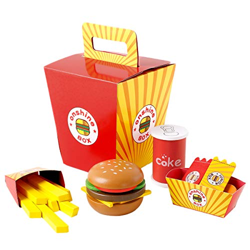 Onshine Wooden Fast Food Toy Set for Kids Burger Fries Food Play Set-26pcs
