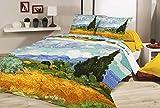 Deco Italia Set Copripiumino copriletto Van Gogh Campo di Grano 100% Cotone | Matrimoniale 250 x 240 cm + 2 federe 50 x 80 cm