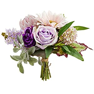11″ Rose, Sunflower & Protea Silk Flower Bouquet -Pink/Lavender (Pack of 4)