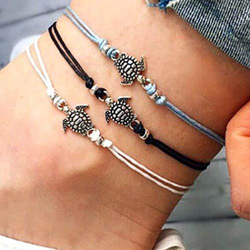 Yean Boho Turtle Fußkette Lederband Knöchel Armband Mode Fußschmuck Kette für Frauen und Mädchen (3er Set)