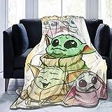 SL-YBB Manta para bebé Yoda de Mandalorian, suave micropile para aire acondicionado, adecuada para ropa de cama de todo el año, sofá y peluche (Yoda – 2,100 x 140 cm)