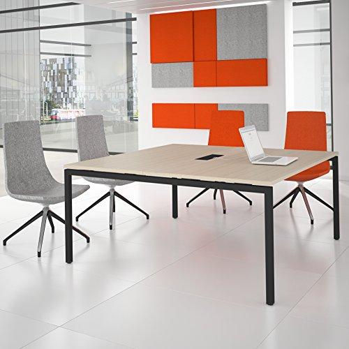 Weber Büroleben GmbH NOVA Konferenztisch 160x164cm Eiche mit ELEKTRIFIZIERUNG Besprechungstisch Tisch, Gestellfarbe:Anthrazit