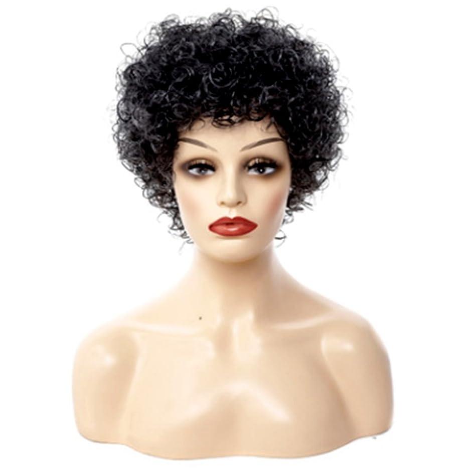 受賞事故穀物JIANFU 小さな髪の短いバースト、快適な$調整可能な色のかつらに完璧なフィットのためのモノクロハーモニー-30cmナチュラルウィメンズウィッグ (Color : Black and white harmony)