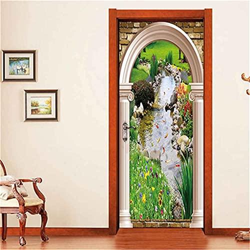 CUUDBP 3D Etiqueta De La Puerta, Paisaje De Arroyo De Césped Verde Impermeable Extraíble Pegatinas De Pared Pintura Mural Autoadhesivos Papel Tapiz Para Puertas Interiores Dormitorio Decoracion 77X200