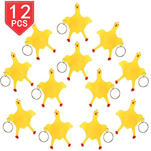 PROLOSO Chicken Squishy Toys Keychains Key Rings for Stress Relief Squeezable Fidget Toy Key Chains 12 Pcs