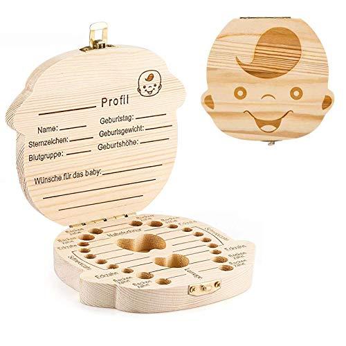 GeekerChip Zahnaufbewahrungsbox (Junge) für Zahnspeicher und Aufbewahrungskasten für fötales Haar für Andenkengeschenke für neugeborene Babys [Deutsche Version]