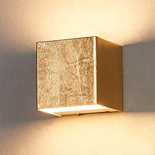 Lindby LED Wandleuchte, Wandlampe Innen 'Quentin' (Modern) in Gold/Messing aus Metall u.a. für Flur & Treppenhaus (1 flammig, A+, inkl. Leuchtmittel) - Wandstrahler, Wandbeleuchtung Schlafzimmer