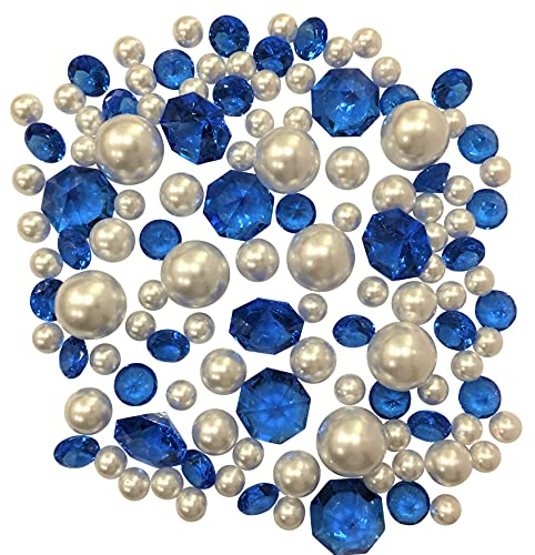 120 'Floating' Royal Blue Sparkling Gems & White Pearls - No Hole Jumbo/Assorted Sizes Vase Decorations and Table Scatter + Includes Transparent Water Gels for Floating The Pearls