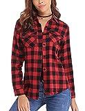 Aibrou Camisa Franela de Cuadros Mujer,Blusa Casual Camisas Clásica Manga Larga con Botones,Ropa de Trabajo de Equipo para Primavera Otoño Invierno (Rojo, L)