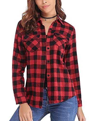Aibrou Camisa de Cuadros para Mujer,Algodón Blusas Franela de Manga Larga Casual Clásica con Botones,Camisas a Cuadras para Primavera Otoño Invierno (Rojo, XL)